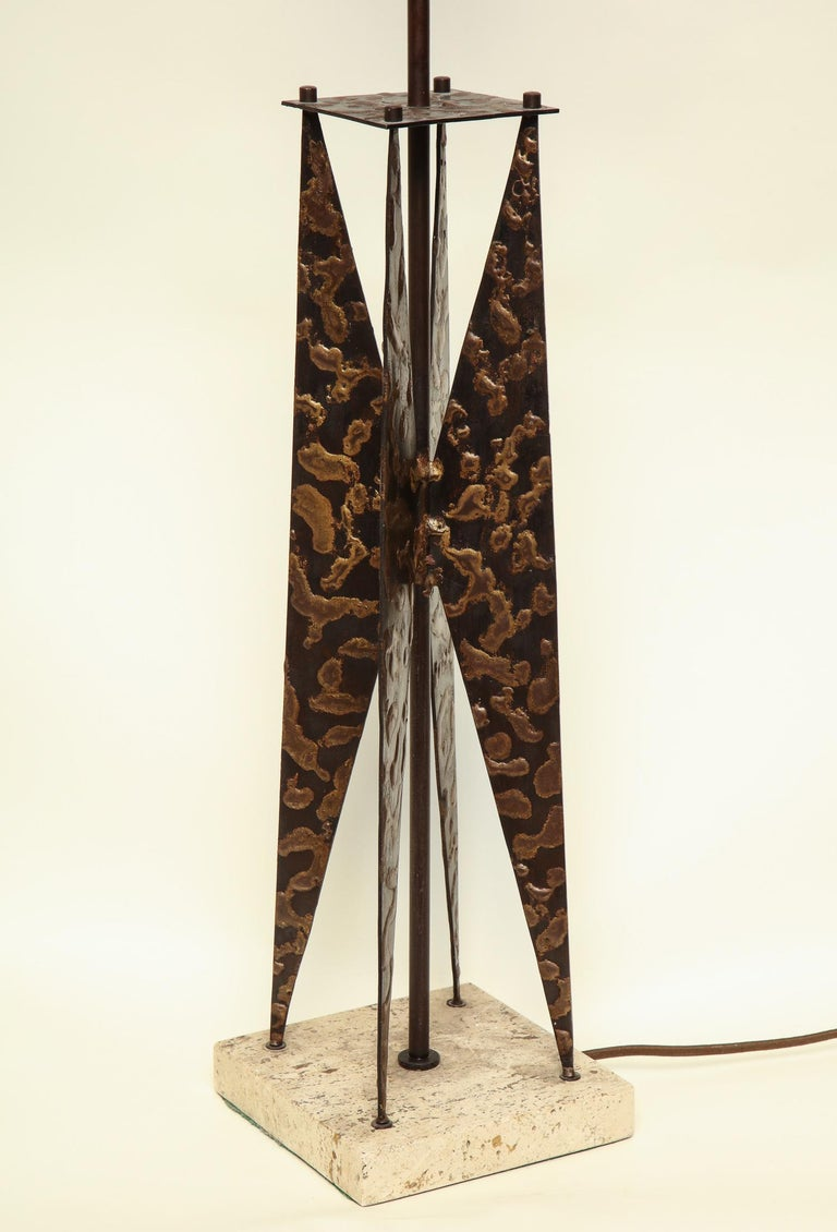 Fantoni Table Lamp Mid-Century Modern Sculptural Form Crafted of Patinated Iron For Sale 3