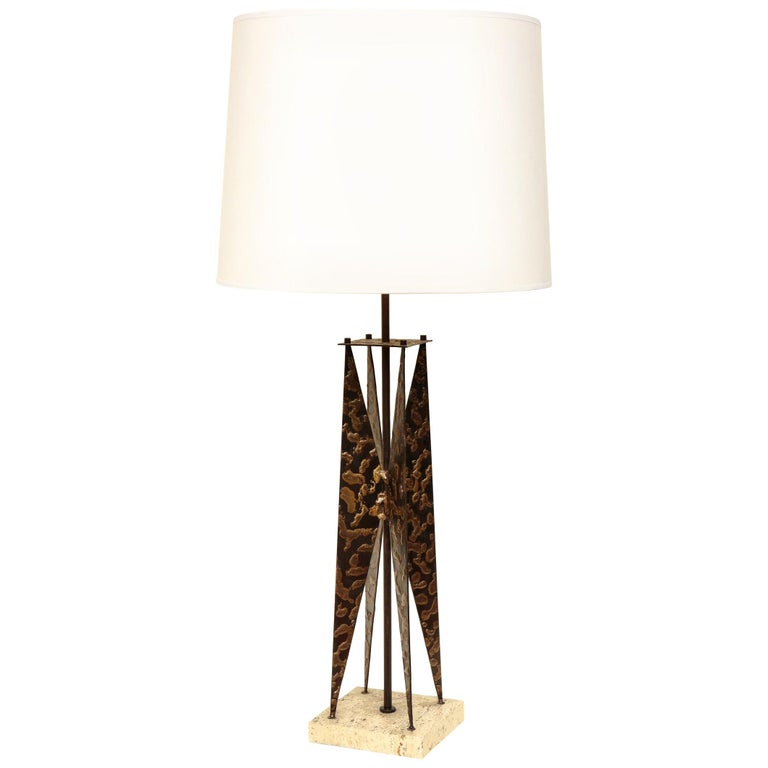 Fantoni Table Lamp Mid-Century Modern Sculptural Form Crafted of Patinated Iron For Sale