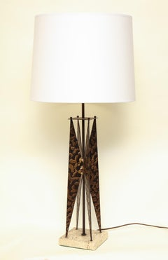 Fantoni Table Lamp Mid Century Modern Sculptural form crafted of patinated iron