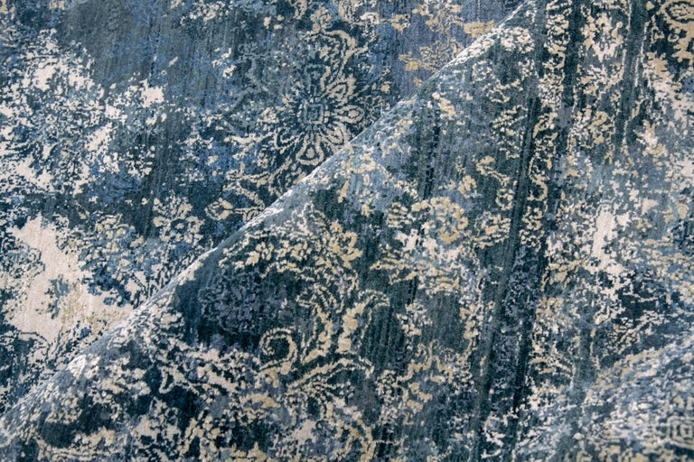 Modern Persian Hand Knotted - Farah Blue, Edition Bougainville For Sale