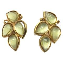 Farah Lister Vintage Earrings Art Glass Brushed Goldtone 1980S