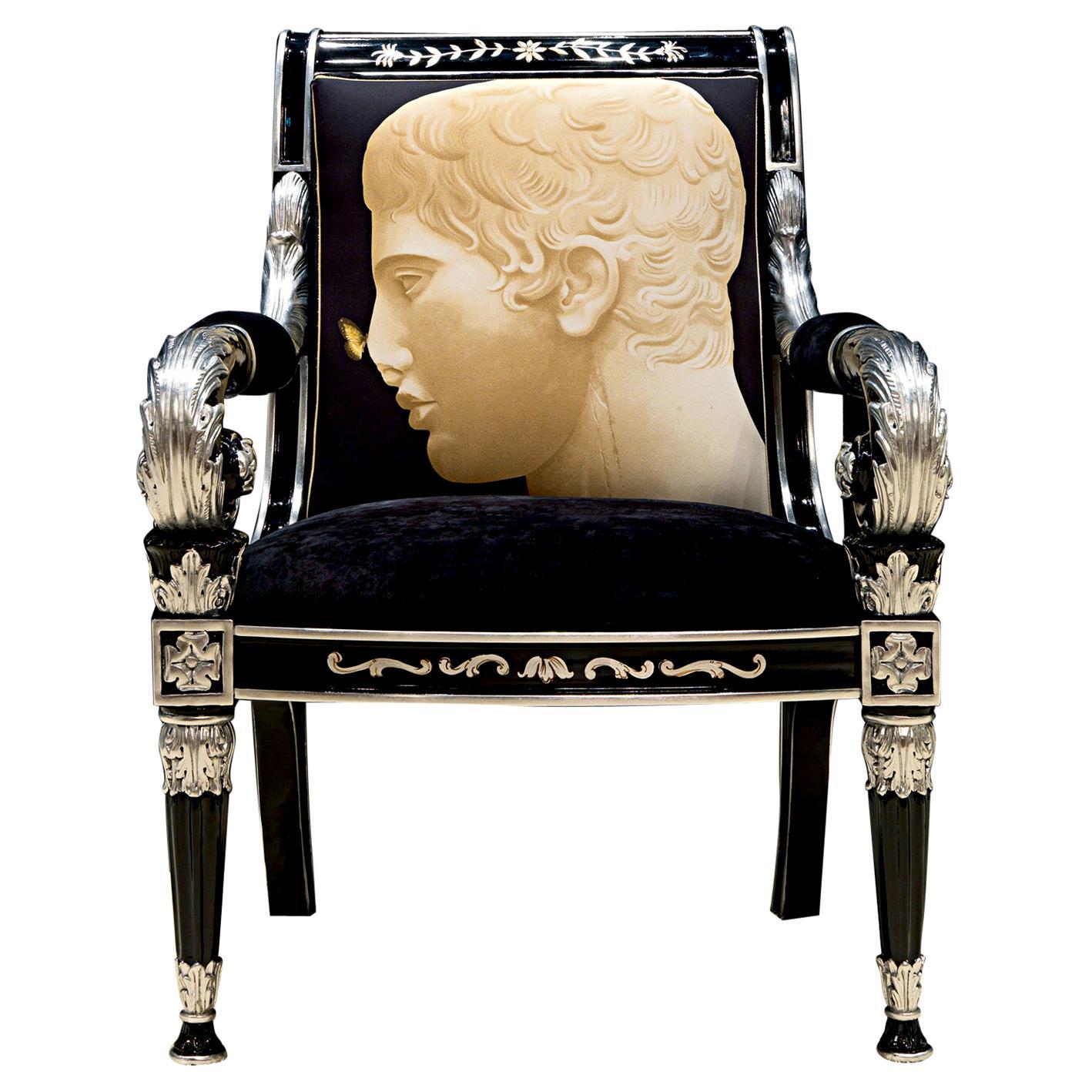 Faraone-Canc Black & Silver Armchair w Printed Fabric, Paolo Canciani & Zanaboni