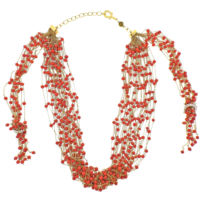 Faraone Coral Diamond Gold Multi Strand Necklace