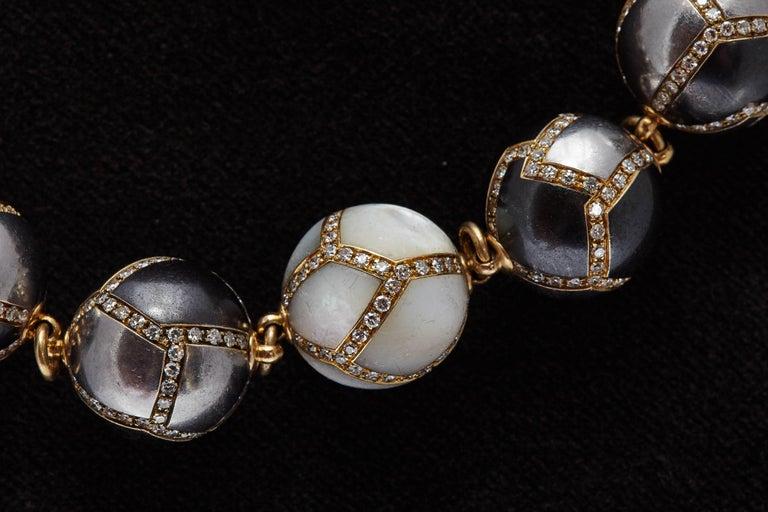 Women's or Men's Faraone Diamond Hematite Gold Necklace For Sale