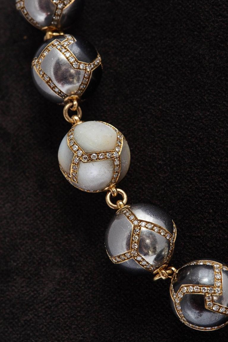 Faraone Diamond Hematite Gold Necklace For Sale 1