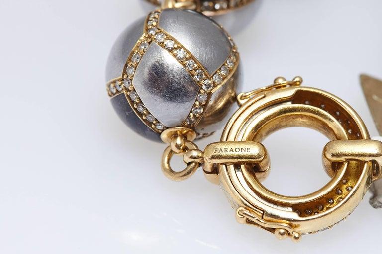 Faraone Diamond Hematite Gold Necklace For Sale 2