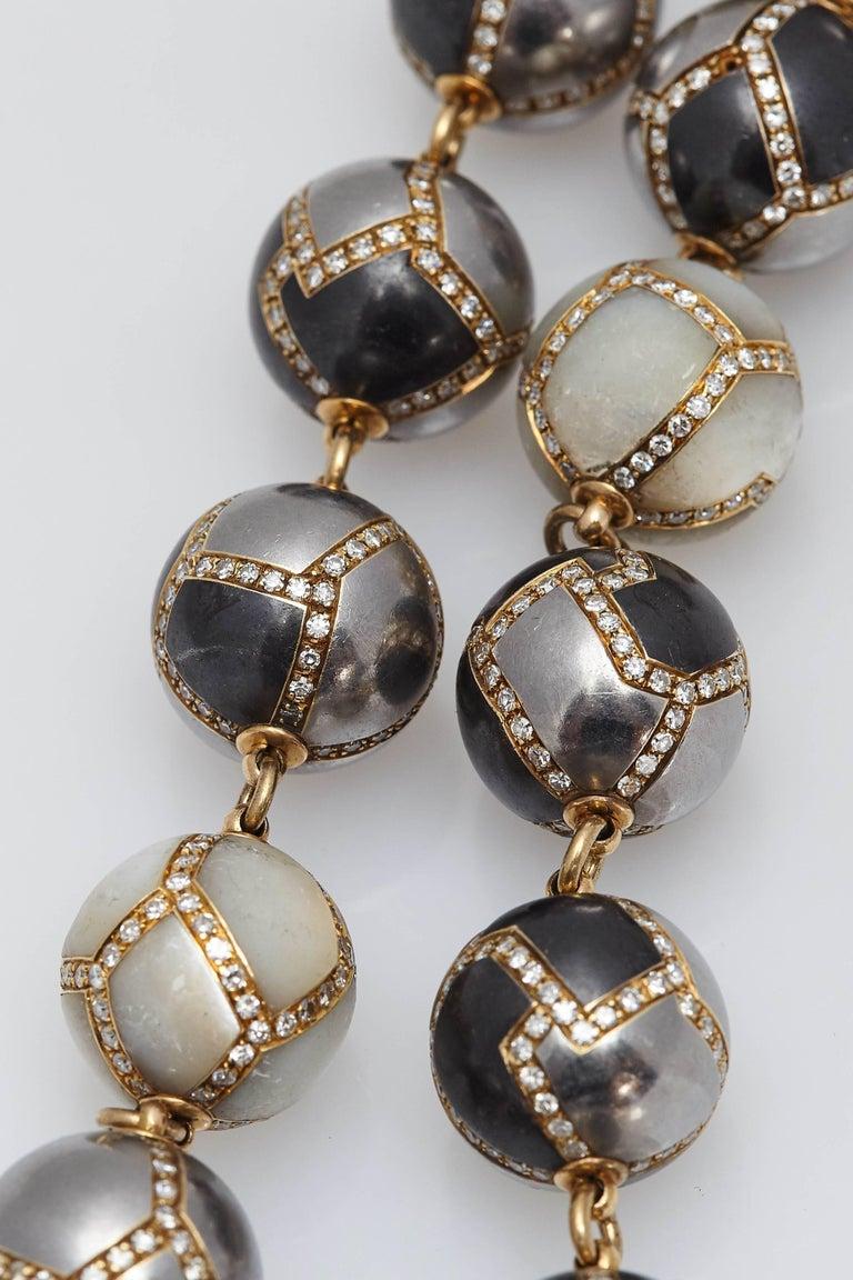Faraone Diamond Hematite Gold Necklace For Sale 3