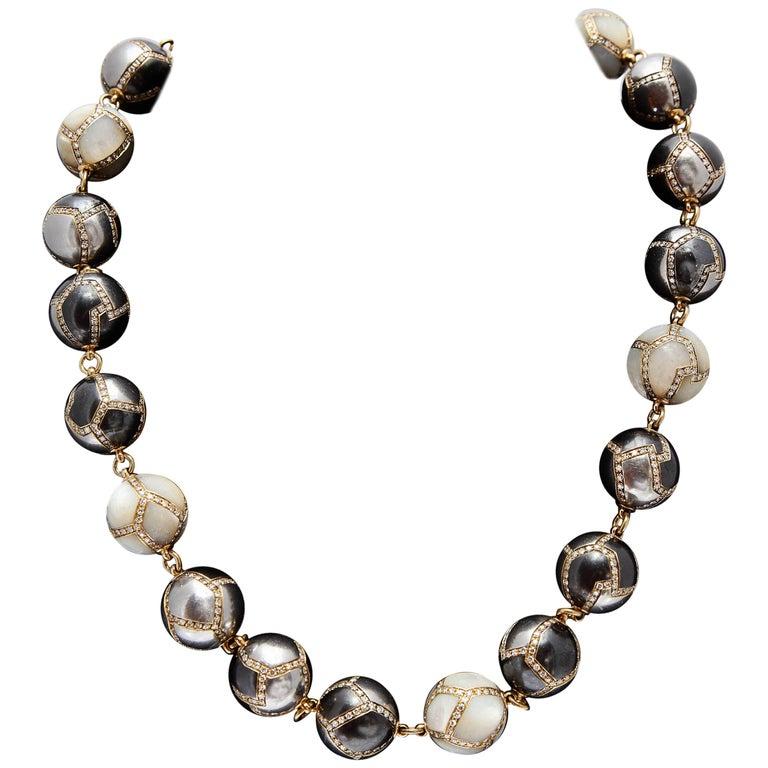Faraone Diamond Hematite Gold Necklace For Sale