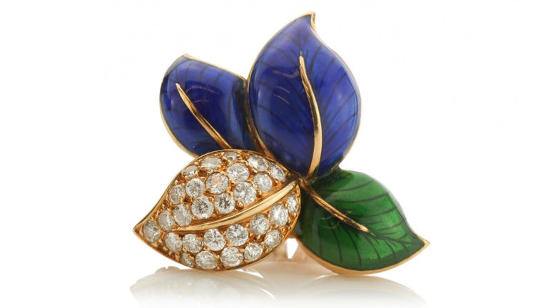 Faraone Earring and Ring Set, Gold and Diamonds, Made in Italy In Good Condition For Sale In Braintree, GB