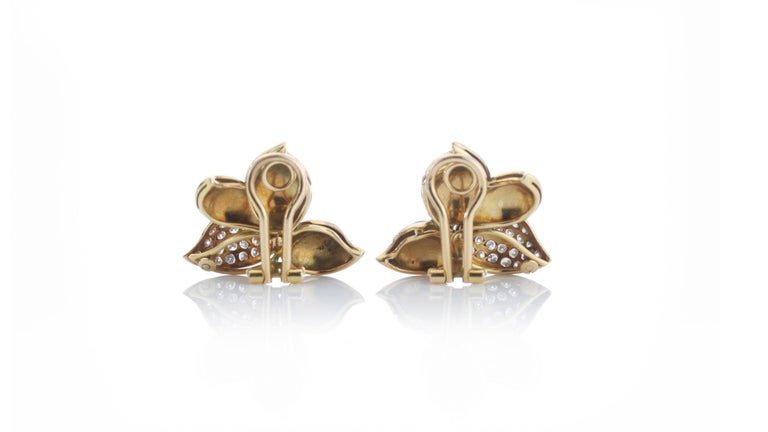Women's Faraone Earring and Ring Set, Gold and Diamonds, Made in Italy For Sale