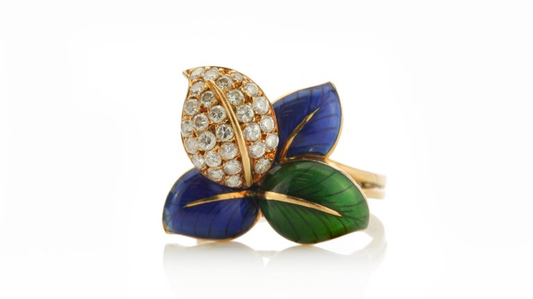 Faraone Earring and Ring Set, Gold and Diamonds, Made in Italy For Sale 3