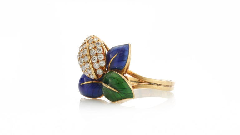 Faraone Earring and Ring Set, Gold and Diamonds, Made in Italy For Sale 4