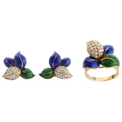 Faraone Earring and Ring Set, Gold and Diamonds, Made in Italy