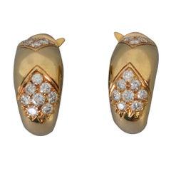 Faraone Gold Diamond Half Hoop Earrings
