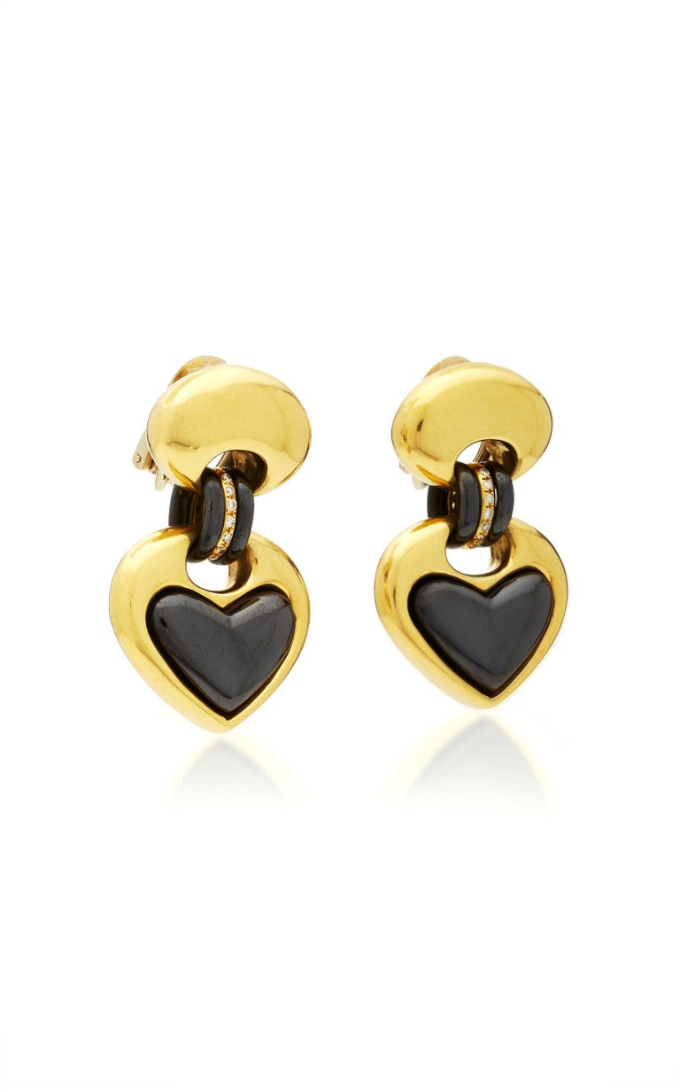 Faraone Heart-Shaped Ear Pendants In Excellent Condition For Sale In New York, NY