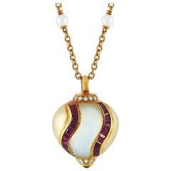 Faraone Mennella 18 Karat Yellow Gold 0.20 Carat Diamond, Ruby and Pearl Pendant