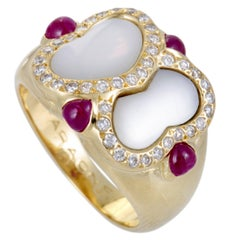 Faraone Mennella Diamond Ruby Mother-of-Pearl Gold Ring