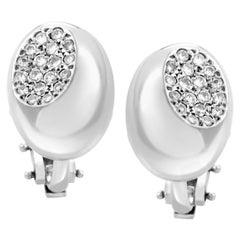 Faraone Mennella Platinum and 18 Karat White Gold Diamond Pave Huggie Earrings