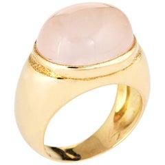 Faraone Mennella Rose Quartz Ring 14 Karat Yellow Gold RFMAS Estate Fine Jewelry