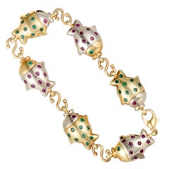 Faraone Mennella Ruby and Emerald Gold Fish Bracelet