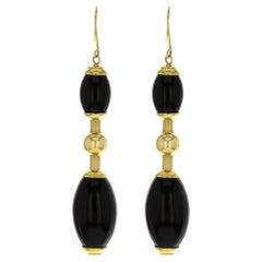 Faraone Mennella Tuca Tuca 18 Karat Yellow Gold Black Onyx Earrings 22.5 g