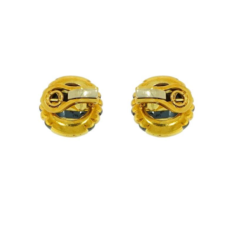 Contemporary Faraone Yellow Gold Striped Non-Pierced Clip-On Earrings For Sale