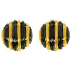Faraone Yellow Gold Striped Non-Pierced Clip-On Earrings