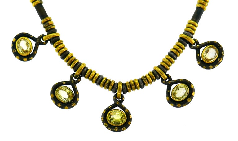 Faraone Yellow Sapphire Gold Necklace Earrings Set with Gun Metal For Sale 4