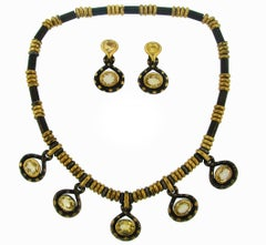 Faraone Yellow Sapphire Gold Necklace Earrings Set with Gun Metal