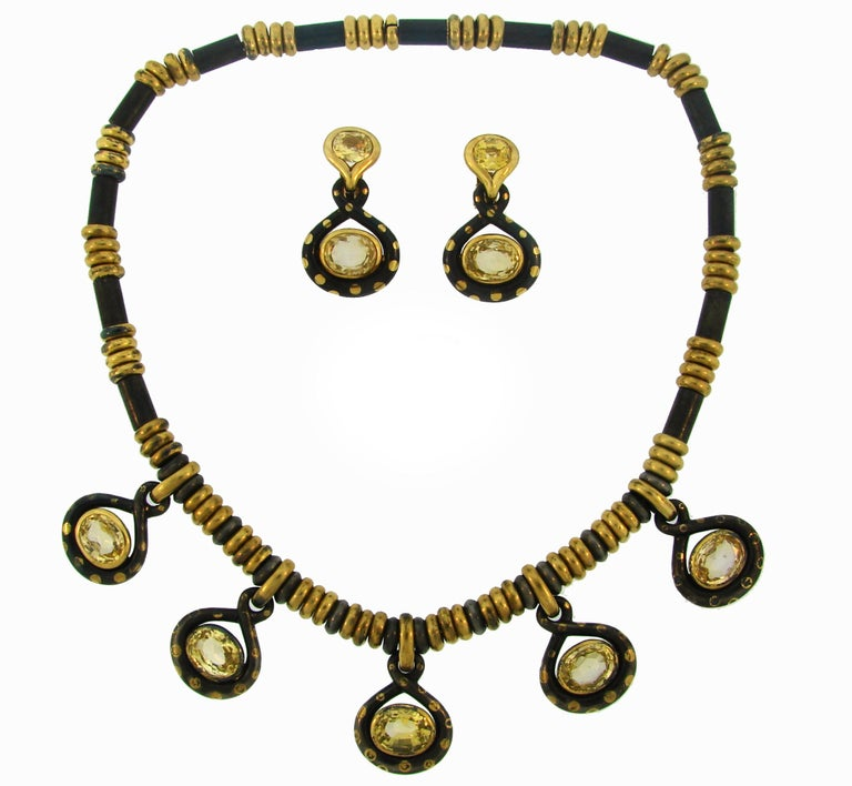 Faraone Yellow Sapphire Gold Necklace Earrings Set with Gun Metal For Sale