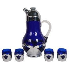 Farber Brothers Art Deco Cobalt Blue Cocktail Shaker and Glasses