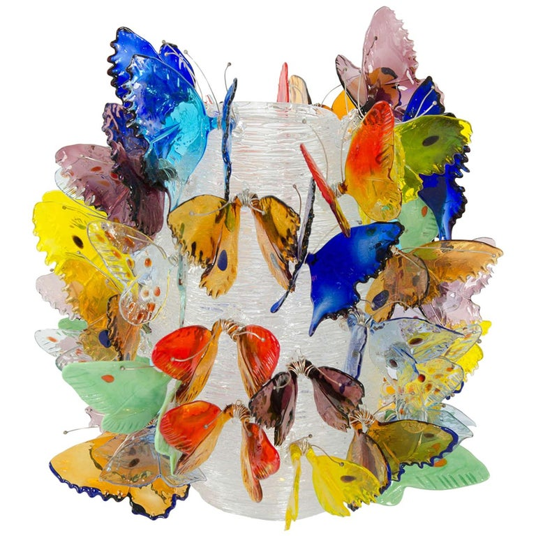 Farfalle, a Limited Edition Mixed Color Butterfly Adorned Vase by Ted Muehling For Sale