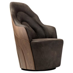 Färg & Blanche Contemporary Brown Leather Couture Armchair for BD Barcelona