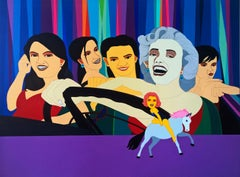 """Marilyn Monroe with Friends, Acrylic on Canvas by Indian Artist """"In Stock"""""""