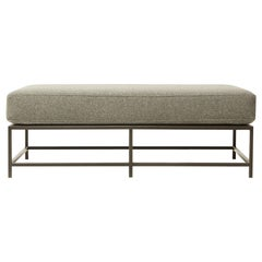 Faribault Grey Wool and Blackened Steel Bench