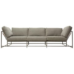 Faribault Grey Wool and Blackened Steel Sofa