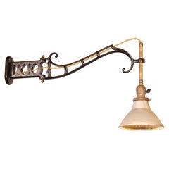 Faries Wall Sconce with Mercury Glass Shade, Cast Iron Adjustable Lamp / Light