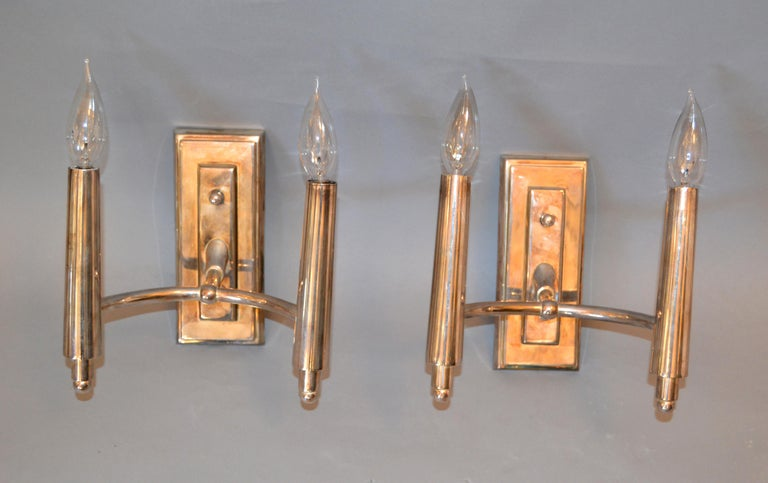 American Farlane Double Sconces in Polished Silver by Thomas O' Brien, Pair For Sale