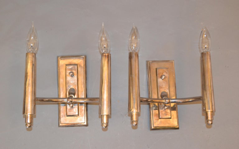 Farlane Double Sconces in Polished Silver by Thomas O' Brien, Pair For Sale 2