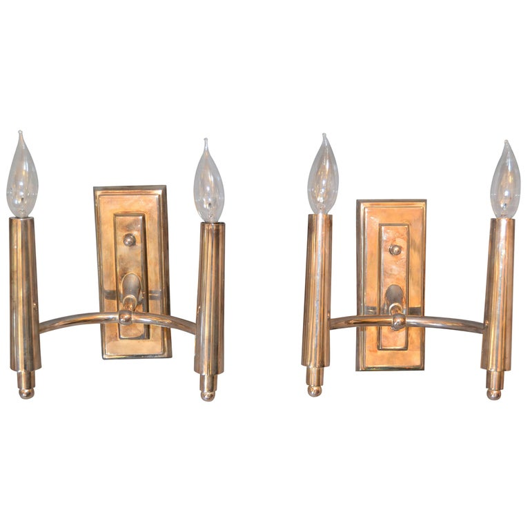 Farlane Double Sconces in Polished Silver by Thomas O' Brien, Pair For Sale