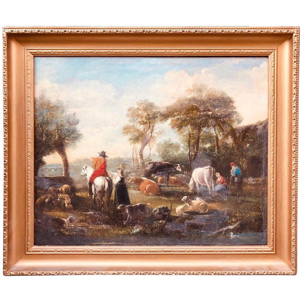 Farm English Landscape Unknown Artist, Unsigned Oil Painting, 19th Century