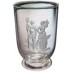 """Farm Laborers,"" Rare Art Deco Engraved Steuben Vase Honoring Agriculture"