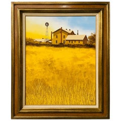 Farm Landscape Oil on Canvas Painting Signed By Artist 7Eight