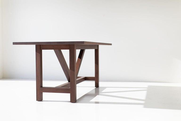 Modern Farm Table, Walnut For Sale