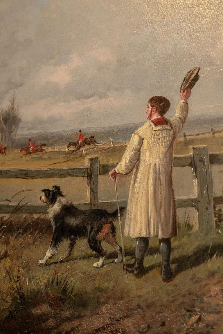 19th Century Farmer and Hunt Scene Oil on Canvas Painting by S J Clark For Sale
