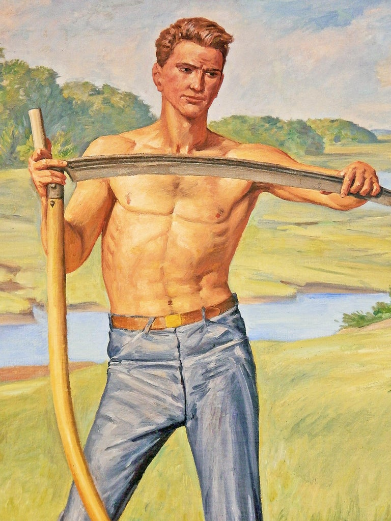 Drenched with sun and full of optimism, this depiction of a shirtless farm worker, with scythe in hand, is a high-spirited paean to the American laborer, at a time when the Works Progress Administration and other institutions were commissioning