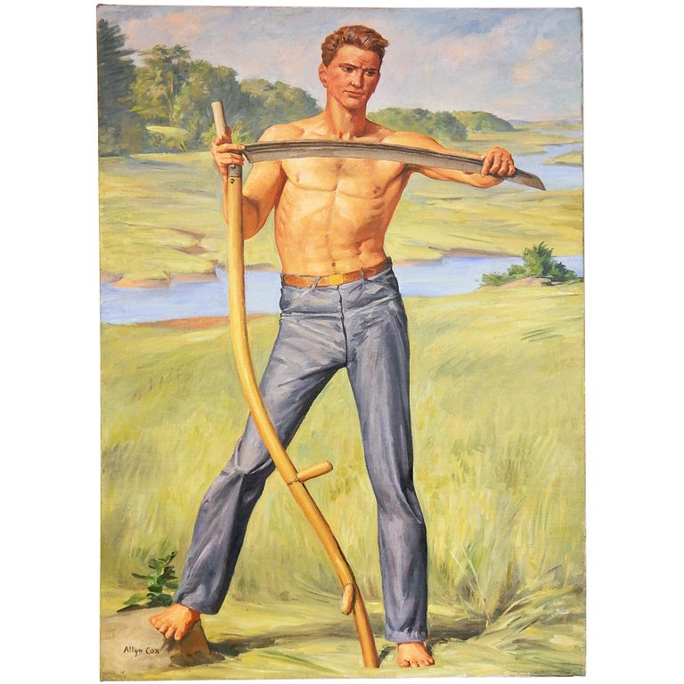 """""""Farmer with Scythe,"""" Depiction of American Worker by U.S. Capitol Muralist For Sale"""