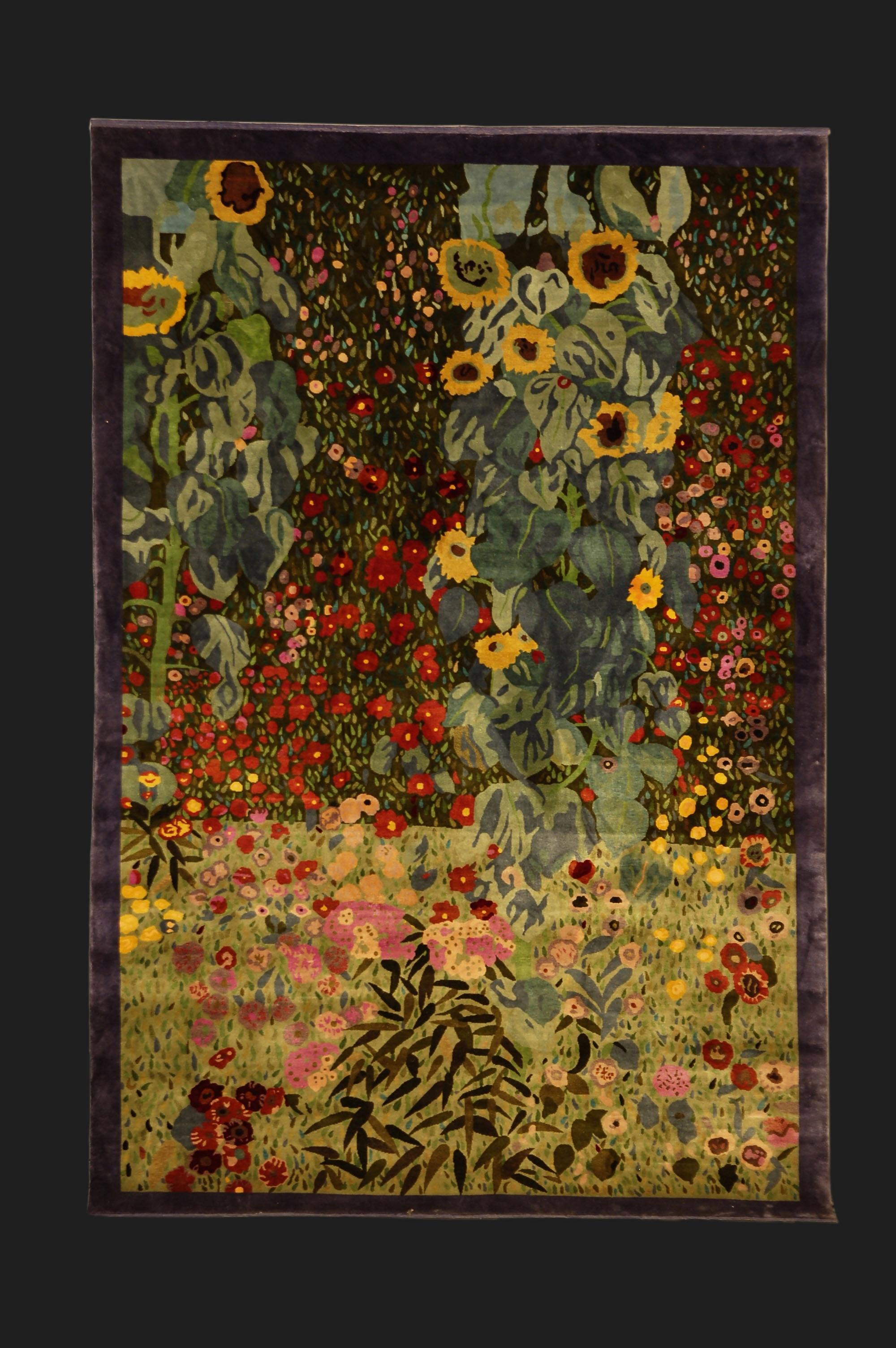 Farmers Garden Silk Carpet For A Painting By Klimt Designer Gunther Lambert