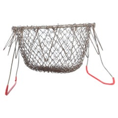 Farmhouse Chic Red Wire Egg Basket Carry All with Intricate Modern Mesh Grid