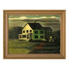 Farmhouse Painting by Theodore Wahrman, circa 1930